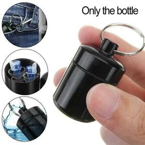 Mini Waterproof Metal Medicine Pill Box Case Bottle Holder Container Keychain-