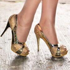Ladies Gold Diamante High Stiletto Heels Sparkly Platform Peep Toe Party Shoes