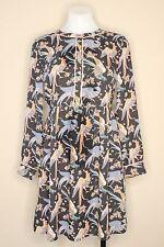 Ann Taylor LOFT Peacock Bird Boho Pleated LS Flare Dress Size 2P Black