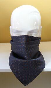 "Silk Neckerchief, cravat, face covering. Grey Millefiori 24"" square. Hand made."