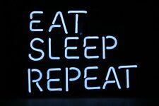 "Eat Sleep Repeat Neon Sign Beer Bar Gift 14""x10"" Light Lamp Decor Bedroom"
