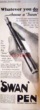 1932 SWAN 'Eternal' English Fountain Pens Ad - Original Art Deco Print Advert
