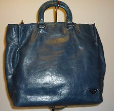 REDUCED $270  Authentic Navy Blue PRADA Tote Shopper Shoulderbag Two Way