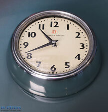 Bengt Ek Design Retro Vintage Art Deco Wall Clock Aluminium & Vanilla Swiss Made