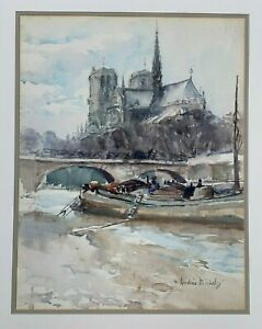 ANDRE MICHEL SIGNED PAINTING NOTRE DAME, RIVER SEINE ORIGINAL WATERCOLOR, PARIS