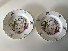 Antique Meissen Porcelain Pair Plates Kakiemon Style Yellow Lion / Tiger Pattern