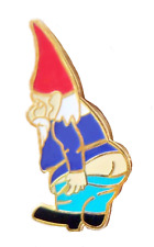 Naughty Garden Gnome Pin Badge