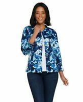 Isaac Mizrahi Live! Watercolor Floral Print Knit Jacket Blue Small A305207