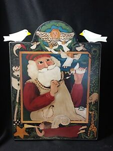 1997 Vintage Nancy Thomas Wall Plaque Santa Claus Christmas Toy Maker