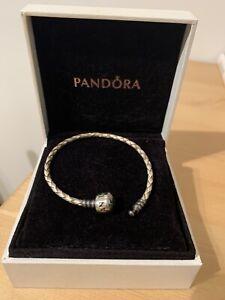 Champagne Cream Single Woven Leather Pandora Bracelet