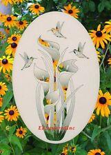 LILY & HUMMINGBIRDS WINDOW DECAL Floral Oval 15x23 Sliding Glass & Door Decor