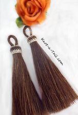 """Horsehair tassels  4 1/2"""" add to tack/bridle sorrel brown horsehair tassel Pair"""