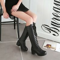 Fashion Chunky Heels Lace Up Womens Knee High Riding Boots Motocycle Punk Shoes
