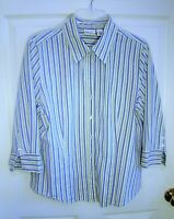 KIM ROGERS: Blue/Green/White Striped 3/4 Sleeve Button Down Shirt - Size XL ?