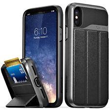 iPhone X Wallet Case Heavy Duty TPU PC Flip Leather Card Slot KickStand Black