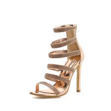 Womens Diamante Strappy Peep Toe Sandals Ladies Zip High Heels Bride Shoes Party