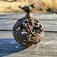 "Cast Iron Bird Cage 7"" Tall Orb Candle Holder Rustic Farmhouse Ornate Home Decor"