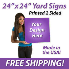 """50x - 24"""" x 24"""" Full Color Yard Signs Printed 2 Sided Free Design Free Shipping"""