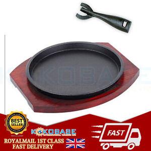 "Cast Iron Round Sizzle 11"" Platter Steak Sizzler Serving Plate Sizzling Dish"
