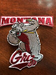 """University Of Montana Grizzlies """" GRIZ Embroidered Iron Patch 3.5"""" x 3""""."""
