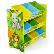 Meuble de rangement pour enfant avec 9 Bac de stockage motif de jungle