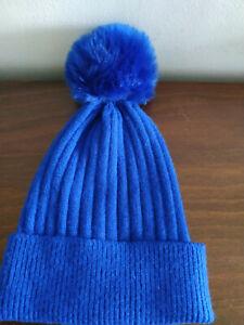 FD268)Ladies/girls woollen royal blue bobble hat - good used condition - Primark