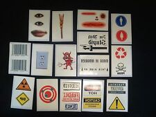 27 Temporary Tattoos: Lips Eyes Scar Zipper Light Socket Poison Barcode Devil