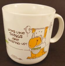 Humorous THINGS ARE SHAPING UP Coffee Mug 1983 Exercise Diet Humor Japan