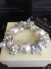 Luxurious Designer Pearl And Diamante Chunky Bracelet - Gift Packaged