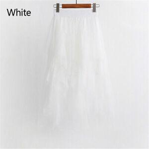 Ladies Women Tulle Mesh Skirt Elastic High Waist Layers Pleated Skirt Long Dress