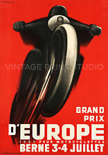 Motorcycle Racing Vintage Switzerland Art Deco Giclee Canvas Print 36x52