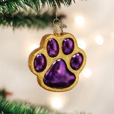 OLD WORLD CHRISTMAS PURPLE & GOLD PAW PRINT DOG CAT GLASS XMAS ORNAMENT 12291