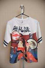 Harajuku Oriental Geisha Cat Koi Fish White Red Short Sleeve Blouse Women's M