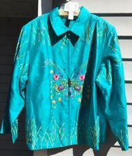 BLUTIQUE NEW SZ 3X  100% SILK EMBROIDERED BEADING SHANTUNG BUTTERFLY JACKET