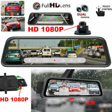 Dash Cam 10'' 1080P Front Rear Camera Car View Mirror DVR Recorder Full Screen