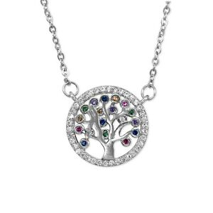 Womens Girls Sterling Silver Tree of Life Small Pendant Necklace Coloured Stones