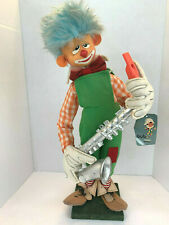 1950's Bub Nistis Barcelona Handmade Felt Clown Playing Saxophone With Orig.Tag