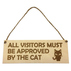 Gift for Cat Owner Hanging Door Wall Sign Visitors Theme Wooden Engraved Novelty