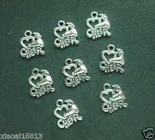 15PCS Tibetan Silver Heart With Cheerleading Cheer Horn Charms  Jewelry Pendants