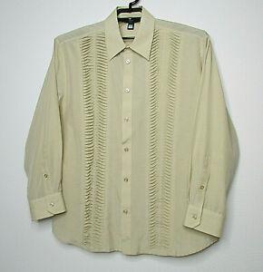 CLASS Roberto Cavalli Italy Cotton Silk Blend Pleated Front Dress Shirt sz 56 22