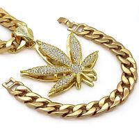 "Mens 14k Gold Plated Large Marijuana Hip Hop Pendant 30"" Cuban Chain & Bracelet"