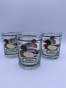 """VTG 3PC GEORGES BRIARD MALLARD PINTAIL GOOSE LOW BALL WHISKY DRINKING GLASSES 4"""""""