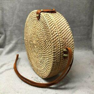 Authentic Bali Round Rattan Bag - Natural Finish