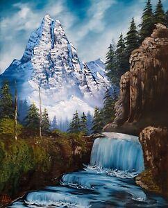 Large Original Signed Oil Painting Art Decor 32x40 Canvas Bob Ross  Technique