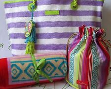 Vera Bradley Lilac Striped Tote, Beach Towel and Ditty Bag Serape Paradise