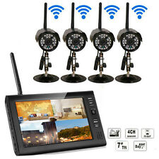 "Wireless 7"" LCD 2.4GHz Video 4CH DVR Baby Monitor 4 Cameras Home Security System"