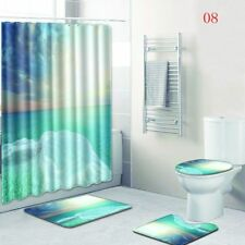 LE 4PCS/Set Bathroom Non-Slip Shower Curtain+Rug+Lid Toilet Cover+Bath Mat New