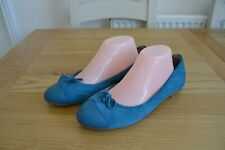WHITE STUFF JADE SUEDE+LEATHER/LEATHER LINED BOW DETAIL BALLERINA SHOES UK 7