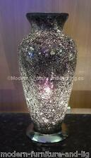 BLACK MOSAIC VASE TABLE LAMP, CRACKED GLASS EFFECT VASE LAMP,