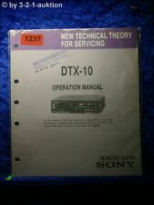 Sony Operation manual DTX 10 DAT PLAYER (#1237)
